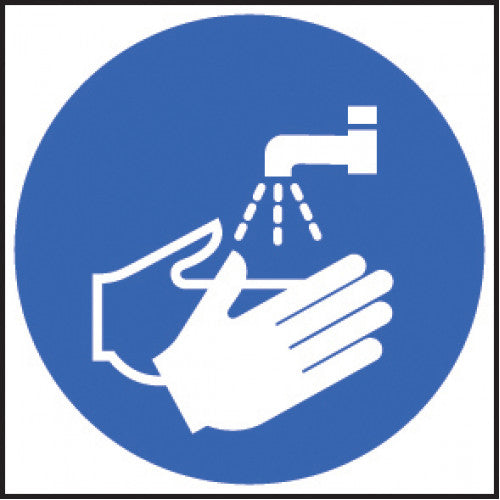 Wash Hands. 6no 65mm diameter self-adhesive vinyl labels  Product code: 51654