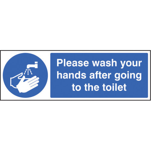 Please wash your hands after going to the toilet. Size: 300x100mm  Available in rigid plastic and self-adhesive vinyl