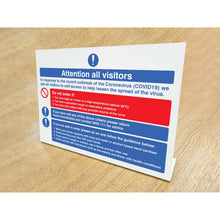 Load image into Gallery viewer, Attention all visitors desktop sign. 300x210mm rigid plastic desktop sign  Product Code: 54993