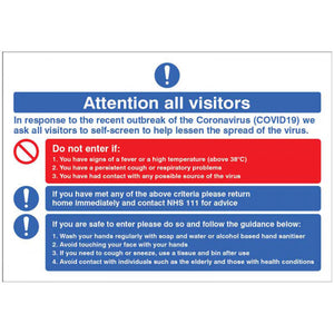 Attention all visitors desktop sign. 300x210mm rigid plastic desktop sign  Product Code: 54993