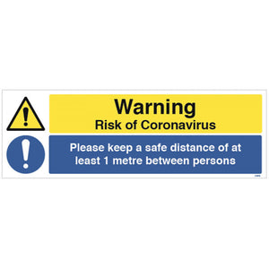 Warning Risk of Coronavirus Floor Graphic  Content: 2 metres, 1 metre or Safe Distance  600x200mm anti-slip floor graphic  Product codes:  2m: 54996  1m: 54996/1M  SD: 58284
