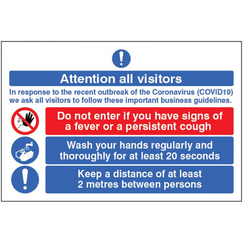 Attention all visitors sign or floor graphic. Sizes: available in 300x250mm, 400x300mm and 600x400mm  Available in rigid plastic, self-adhesive vinyl and an anti-slip floor graphic