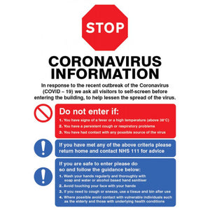 Coronavirus information poster. 420x594mm synthetic paper  Product Code: 55021