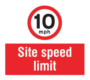 10mph Site Speed Limit. Digitally printed Rigid Plastic sign panel.  Size: 400x400mm  Product Code: 55743
