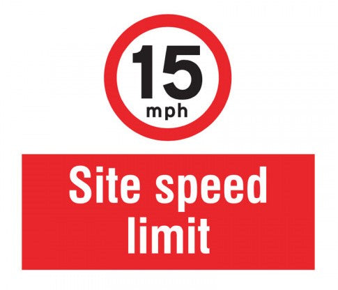15mph Site Speed Limit. Digitally printed Rigid Plastic sign panel.  Size: 400x400mm  Product Code: 55744
