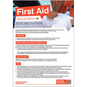First Aid Resuscitation Poster Safety Sign  420x594mm PVC Encapsulated Paper Product Code: 55900