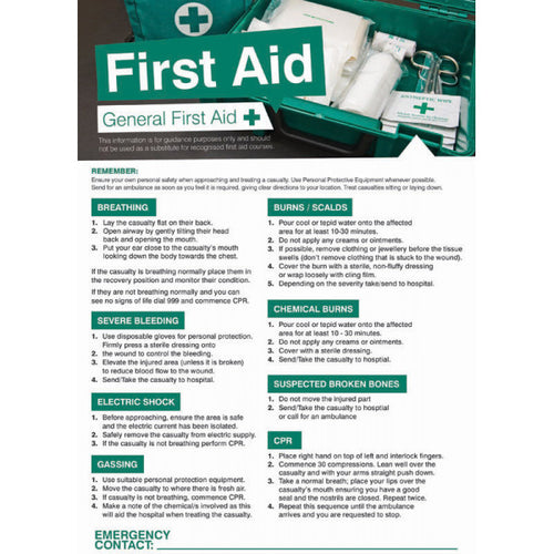First Aid General Poster Safety Sign  420x594mm PVC Encapsulated Paper  Product Code: 55901