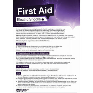 First Aid Electric Shocks Poster Safety Sign  420x594mm PVC Encapsulated Paper .