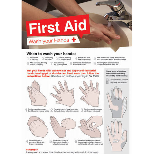 First Aid Hand Wash Poster. 420x594mm synthetic paper  Product code: 5591