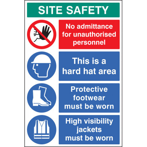 5mm thick Rigid Plastic Digitally printed site safety sign panel.  Size; 600x900mm  Product code: 58035