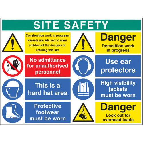 Rigid Plastic Site Safety Sign 1200x900mm Product code: 58037