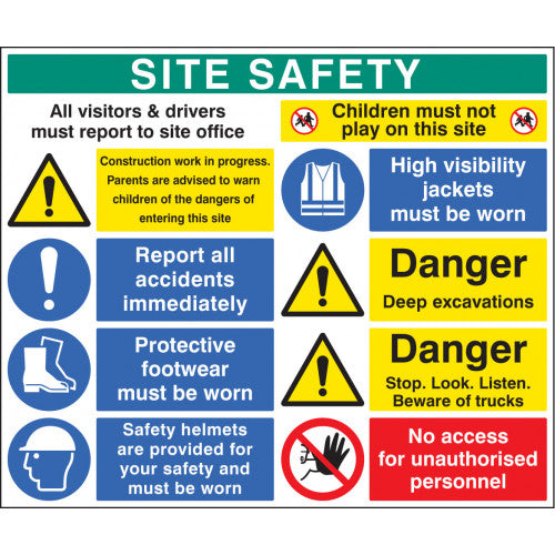 5mm thick Rigid Plastic Digitally printed site safety sign panel.  Size; 1200x1000mm  Product code: 58038