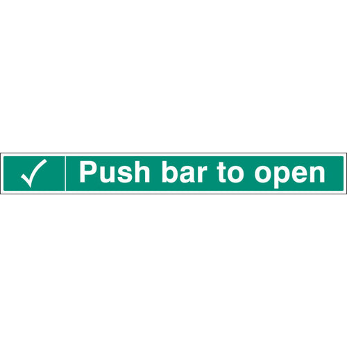 Push Bar to Open   Size: 600x75mm  Self Adhesive Vinyl
