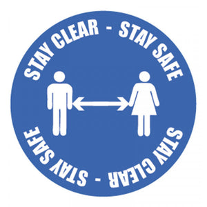 Stay Clear Stay Safe Floor Graphic  Content: 2 metres, 1 metre or Safe Distance  400mm diameter