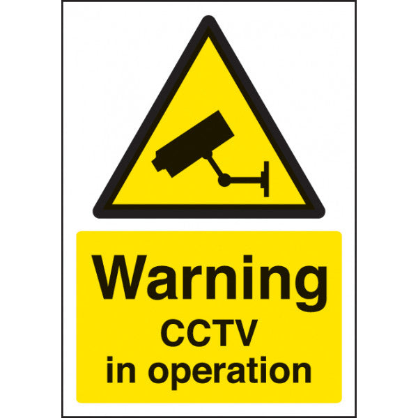 Digitally printed CCTV sign panel available in Rigid Plastic or Self-Adhesive Vinyl.  Size: A4