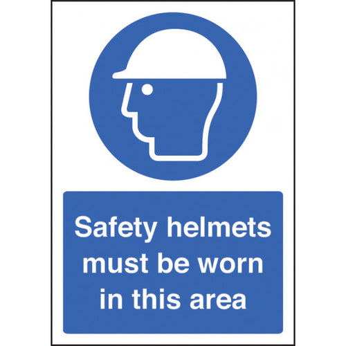 Safety Helmets Must be Worn sign panel.  Available in Rigid Plastic or Self-Adhesive Vinyl.  Size: A4