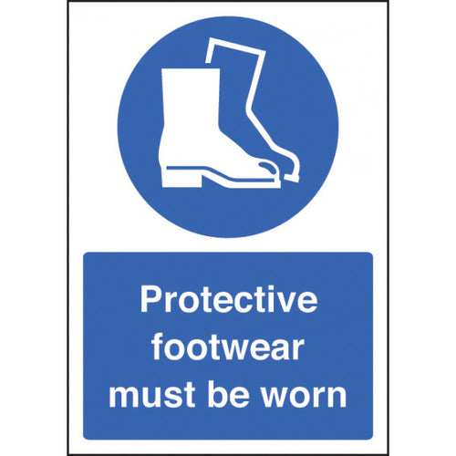 Protective Footwear Must be Worn sign panel.  Available in Rigid Plastic or Self-Adhesive Vinyl.  Size: A4