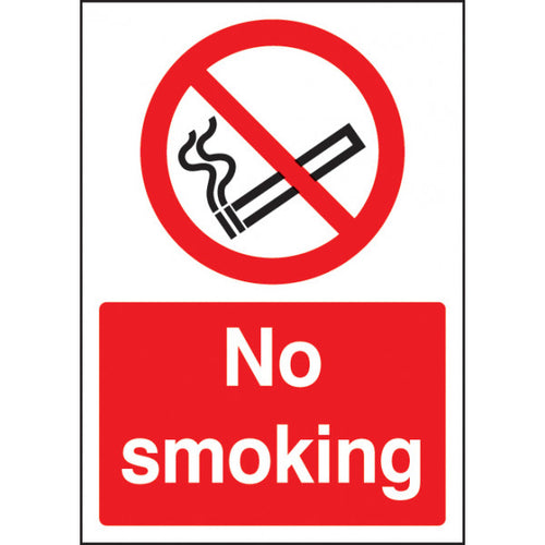 Digitally printed No Smoking sign panel.  Available in Rigid Plastic or Self-Adhesive Vinyl.  Size: A4