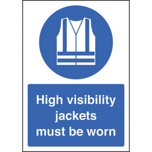 High Visibility Jackets Must be Worn sign panel.  Available in Rigid Plastic or Self-Adhesive Vinyl.  Size: A4