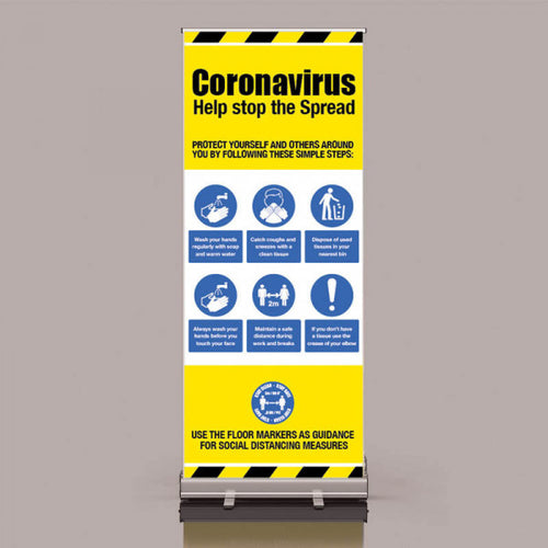 Help Stop The Spread Pop Up Banner  Content: 2 metres, 1 metre or Safe Distance  Size: 800x2000mm  Product Codes:  2m: 58428  1m: 58428/1M  SD: 58261