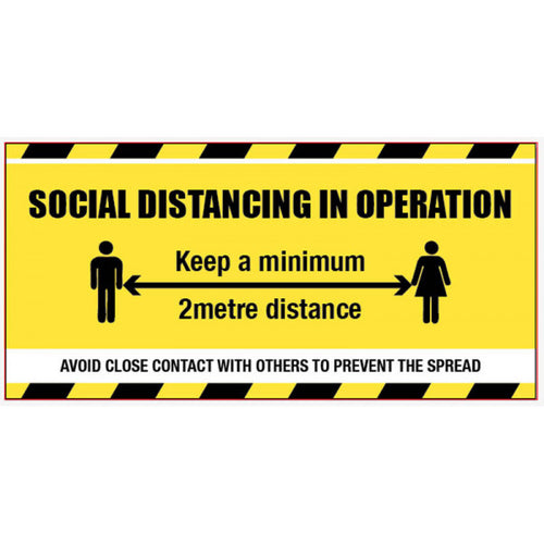 Social Distancing in Operation Banner. Size: 1270x610mm  PVC banner with eyelets  Product code: 58429