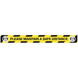 Please Maintain a Safe Distance Floor Graphic  Content: 2 metres, 1 metre or Safe Distance  1000x100mm anti-slip floor graphic  Product codes:  2m: 58467  1m: 58467/1M  SD: 58282