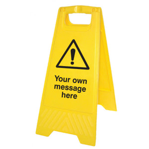 Warning symbol with own message yellow A-Frame. 300x575mm yellow polypropylene A-frame   Product code: 58524