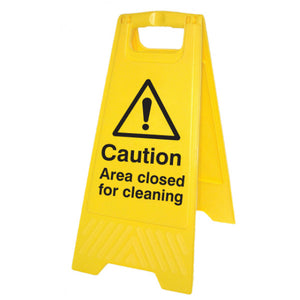 Caution area closed for cleaning yellow A-frame. Size: 300x575mm  Yellow polypropylene double sided A-frame. Fold-able and self standing.  Product code: 58546