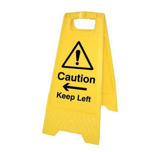 Caution Keep Left/Right Yellow A-frame 300x575mm
