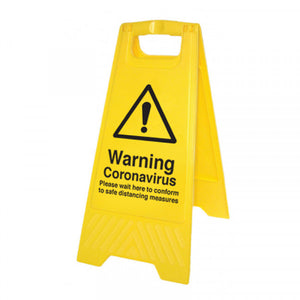 Warning Coronavirus yellow A-Frame. 300x575mm yellow polypropylene A-frame  Product code: 58560