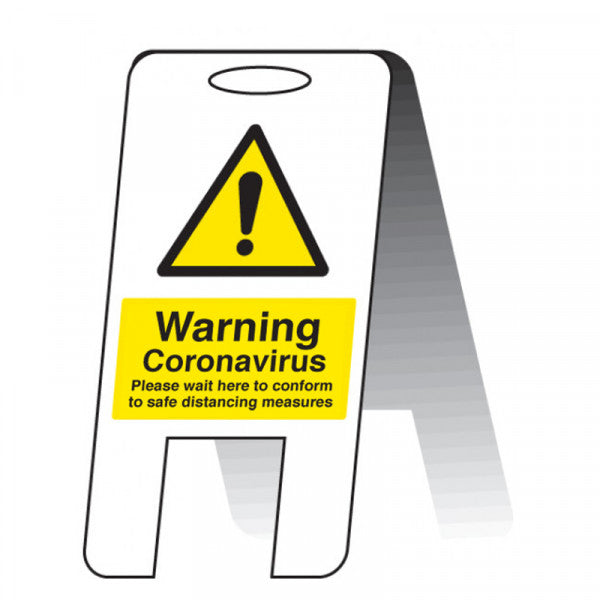 Warning Coronavirus lightweight A-Frame. 300x600mm 4mm fluted polypropylene A-frame  Product code: 58561