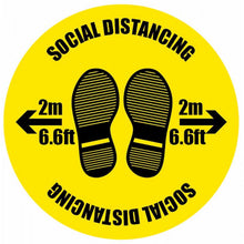 Load image into Gallery viewer, Social Distancing with Footprints anti-slip floor graphic 400mm diameter.