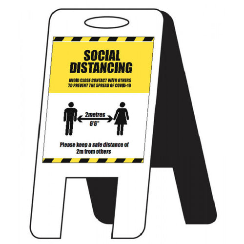 Social Distancing Lightweight A-Frame  Content: 2 metres, 1 metre or Safe Distance  Size: 300x600mm  4mm fluted polypropylene  Product codes:  2m: 58567  1m: 58567/1M  SD: 58296