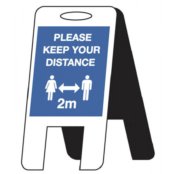 Please Keep Your Distance Lightweight A-Frame  Content: 2 metres, 1 metre or Safe Distance  Size: 300x600mm  4mm fluted polypropylene  Product codes:  2m: 58568  1m: 58568/1M  SD: 58297