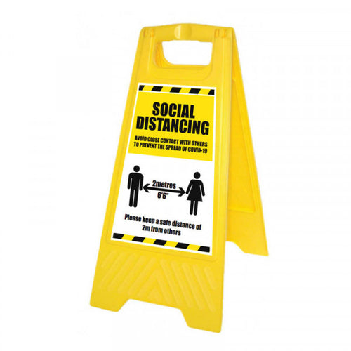 Social Distancing Yellow A-Frame  Content: 2 metres, 1 metre or Safe Distance  Size: 300x600mm  Yellow polypropylene  Product codes:  2m: 58569  1m: 58569/1M  SD: 58298