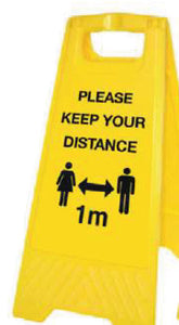 Please Keep Your Distance Yellow A-Frame  Content: 2 metres, 1 metre or Safe Distance  Size: 300x600mm  Yellow polypropylene  Product codes:  2m: 58570  1m: 58570/1M  SD: 58299
