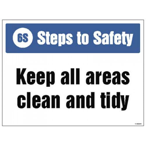 Keep All Areas Clean and tidy Safety Sign. Size: 400x300mm  Available in Rigid Plastic   Product Code: 15945