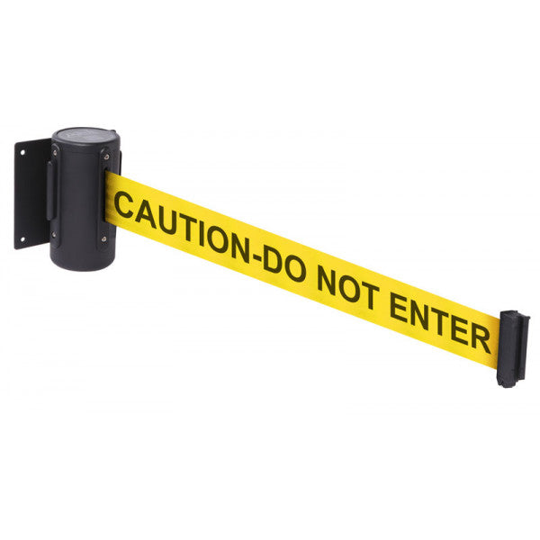 Caution Do Not Enter retractable wall mounted barrier. Lengths available 3 metres and 4.6 metres.