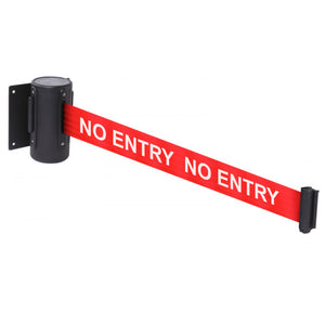 No Entry wall mounted retractable barrier, available lengths 3 metres and 4.6 metres.
