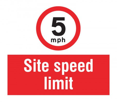 5mph Site Speed Limit. Digitally printed Rigid Plastic sign panel.  Size: 400x400mm Product Code: 55742
