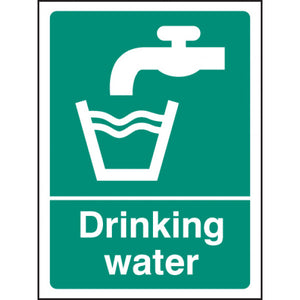 Drinking Water Safety Sign  Available in Rigid Plastic and Self-Adhesive Vinyl  Size: 300x250mm