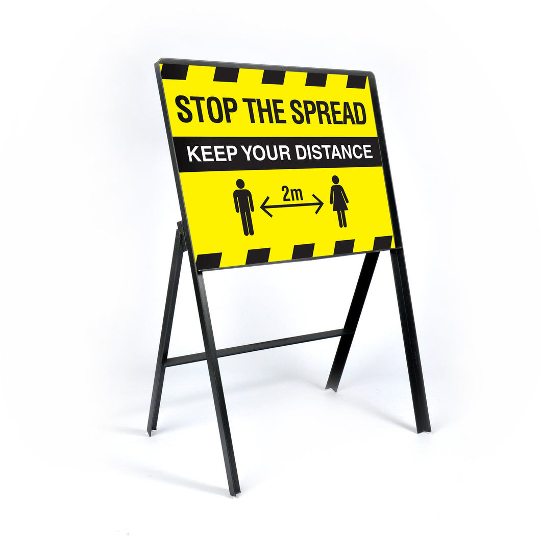Stop the spread. 600x450mm metal traffic frame complete with sign panel  Product code: 60267