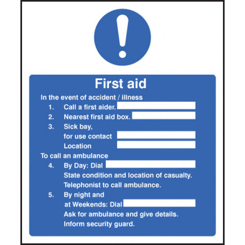 In the Event of an Accident Safety Sign  Available in Rigid Plastic and Self-Adhesive Vinyl  Size: 300x250mm