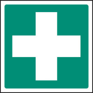 First Aid Symbol Sign  Available in Rigid Plastic or Self-adhesive Vinyl  Sizes: 100x100mm and 200x200mm