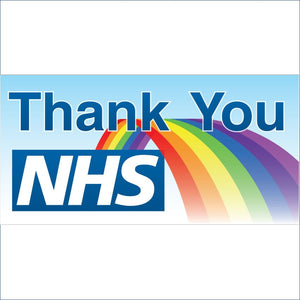 Thank you NHS Banner. Size: 2000x1000mm  PVC banner with hems and eyelets  Product code: 60258