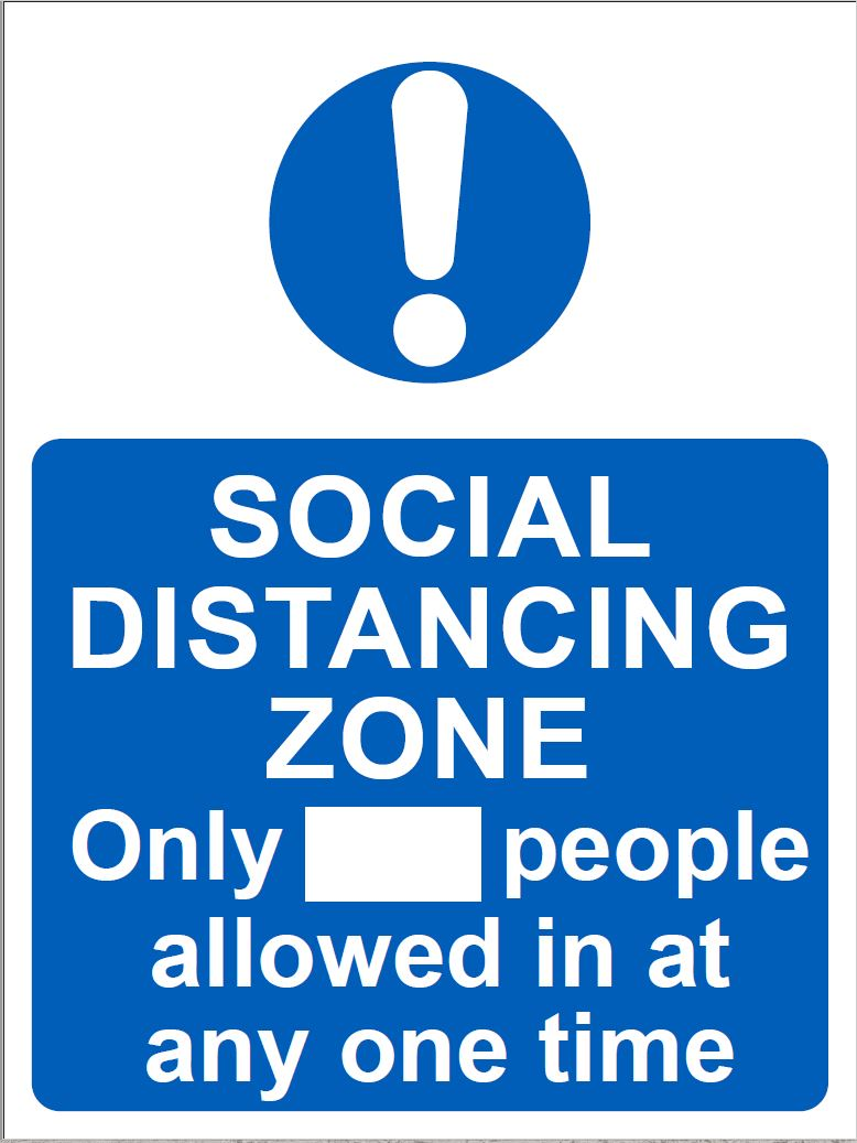 Social distancing zone. Size: 300x400mm  Available in rigid plastic and self-adhesive vinyl  Product codes: rigid plastic 60264 and self-adhesive vinyl 60265