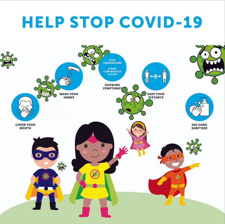 Help Stop Covid-19 child friendly sign available as Vinyl Sticker, Rigid Plastic or Poster.  Size: 1000x1000mm