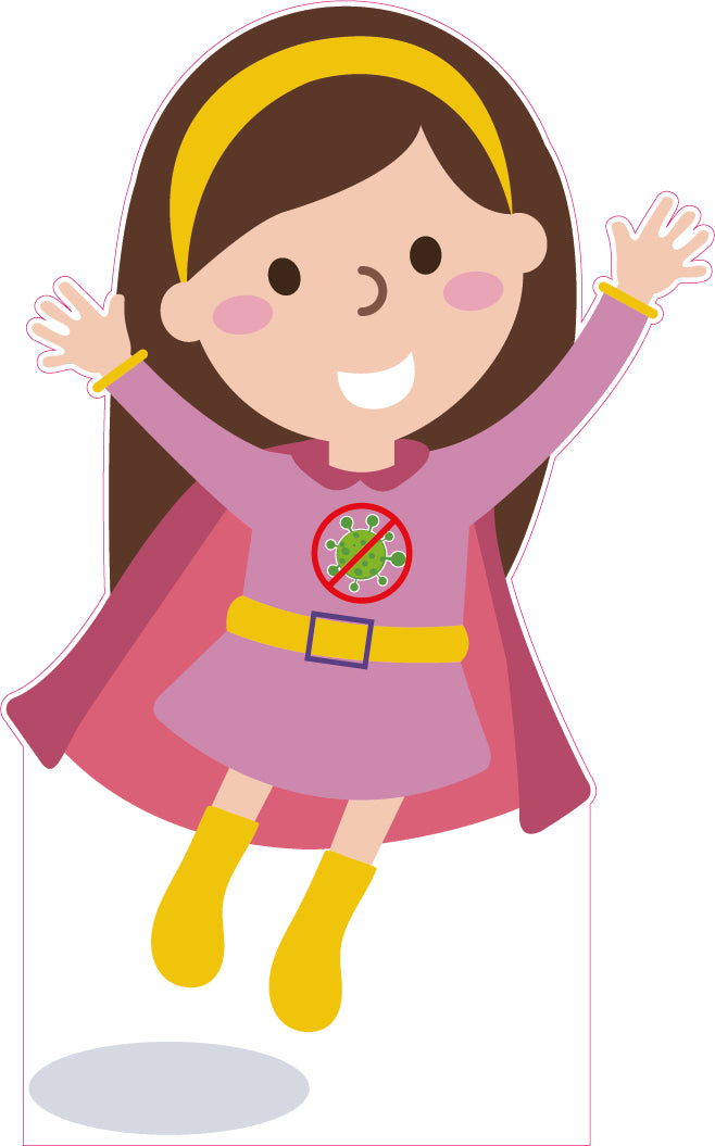 Mini Hero - Social Distancing Girl. Child friendly design available as Free-standing Display, Flat Rigid Plastic or Digitally Printed Vinyl.  Size: 650x1100mm