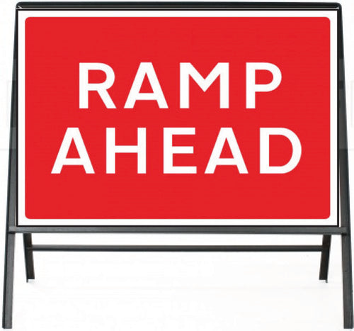 Ramp Ahead Temporary Sign  Zintec panel in Metal Frame  Size: 1050x750mm  Product Code: 60329