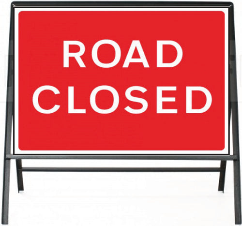 Road Closed Temporary Sign  Zintec panel in Metal Frame  Size: 1050x750mm  Product Code: 60330